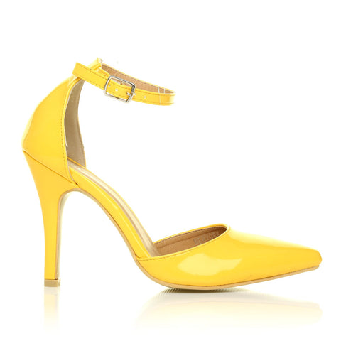 dc036559c NEW YORK Yellow Patent Ankle Strap Pointed High Heel Court Shoes ...
