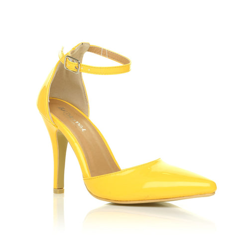 NEW YORK Yellow Patent Ankle Strap Pointed High Heel Court Shoes