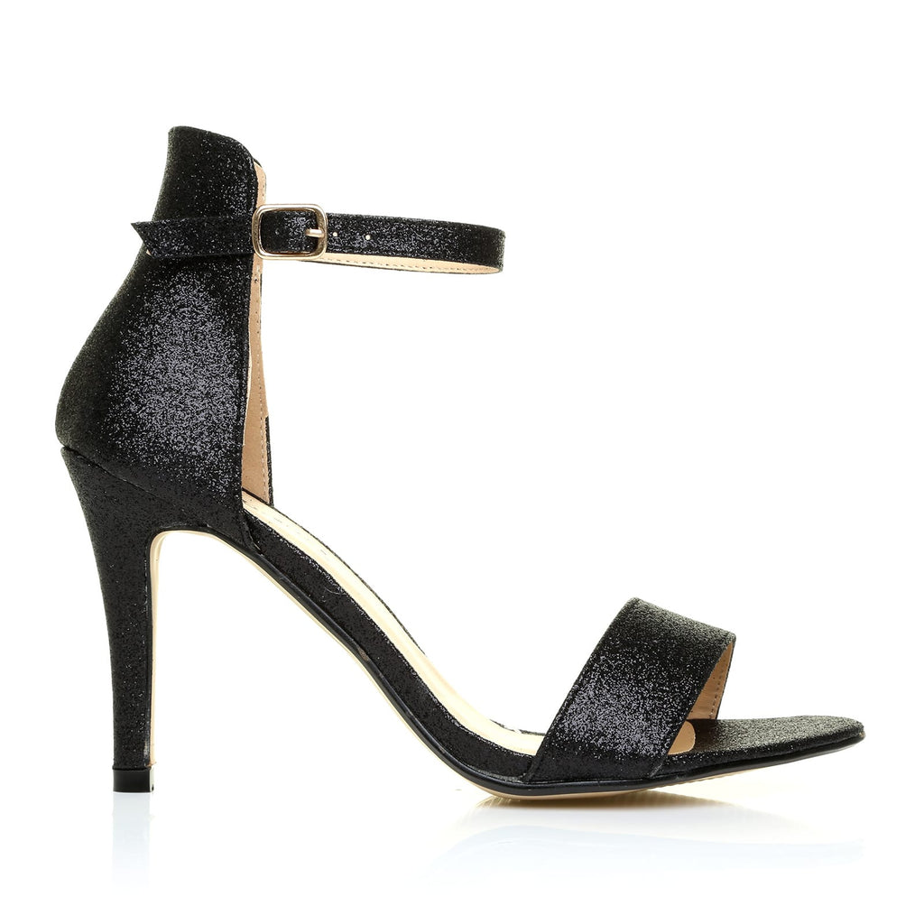 e2c9aed9b3f PAM Black Glitter Ankle Strap Barely There High Heel Sandals