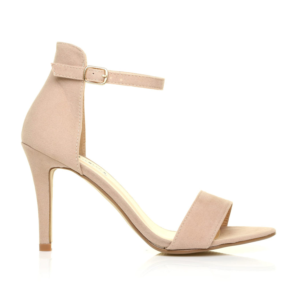 8763021a4e0 PAM Nude Suede Ankle Strap Barely There High Heel Sandals