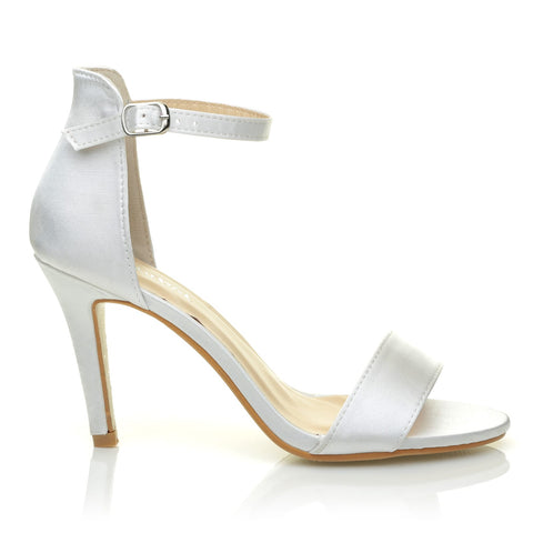bb4b7ba5a25 PAM White Satin Ankle Strap Barely There Bridal High Heel Sandals