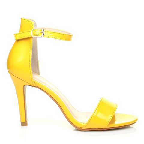 PAM Yellow Patent Ankle Strap Barely There High Heel Sandals