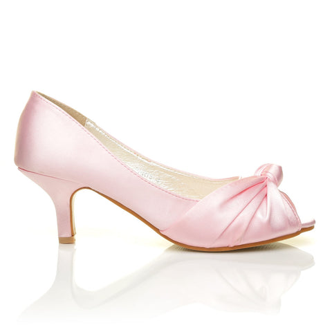 PARIS Baby Pink Satin Kitten Medium Heel Bridal Peeptoe Shoes