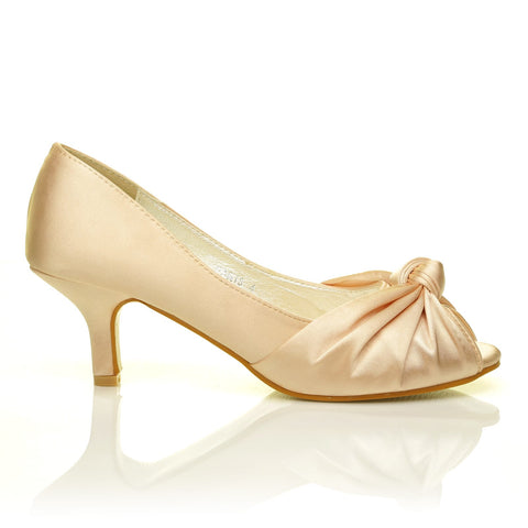 PARIS Champagne Gold Satin Kitten Medium Heel Bridal Peeptoe Shoes - ShuWish.com