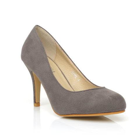 PEARL Grey Faux Suede Stiletto High Heel Classic Court Shoes