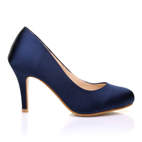 PEARL Navy Satin Stiletto High Heel Classic Court Shoes