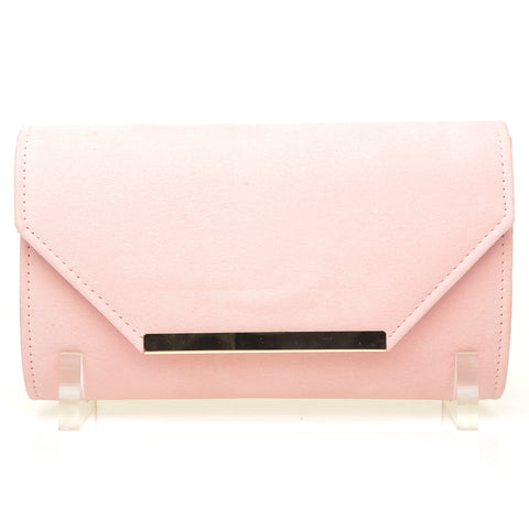 PIXIE Baby Pink Faux Suede Medium Size Clutch Bag