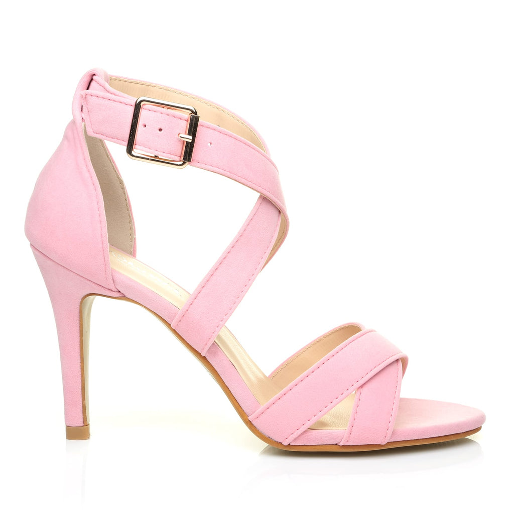 Suede Baby Heel Sandals High Faux Sophie Pink Strappy f7Iby6gYv