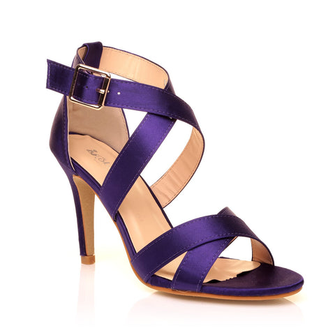 SOPHIE Purple Satin Elegant Strappy Bridal High Heel Sandals - ShuWish.com