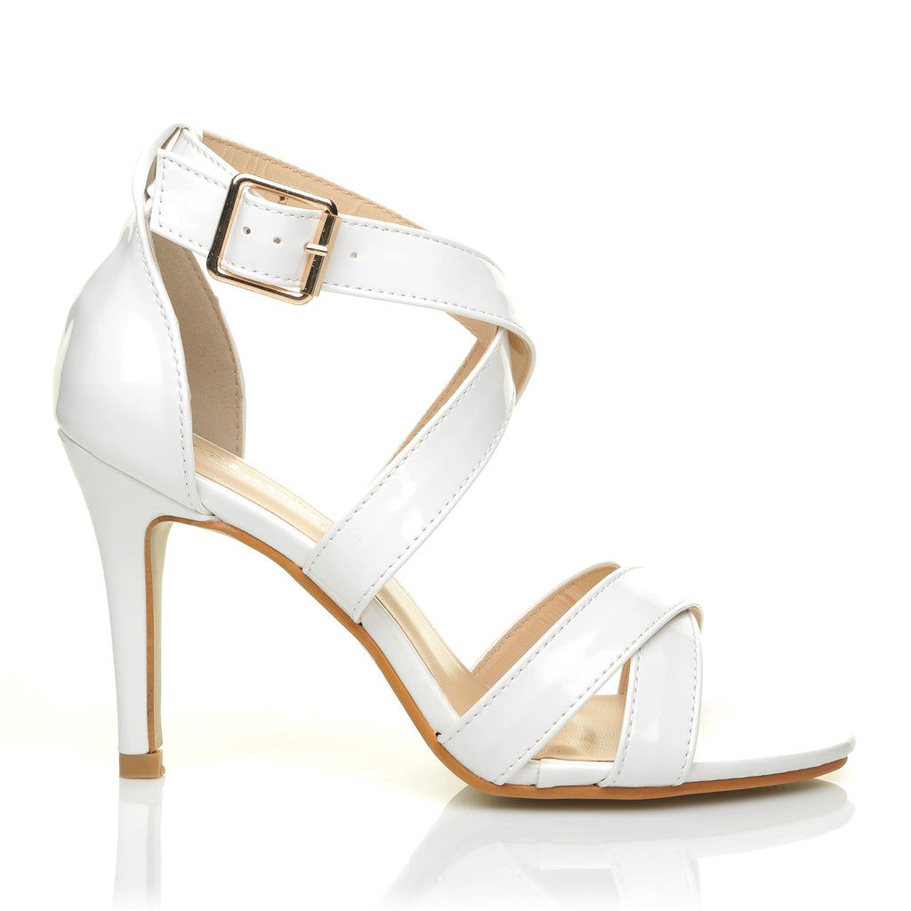 White Heel Leather Sophie Pu Patent Strappy Sandals High 1J3lKFTc