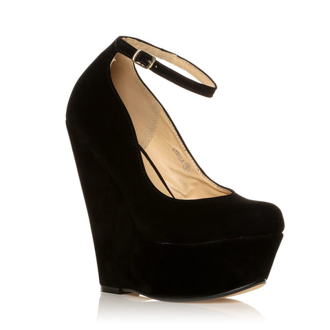 STELLA Black Faux Suede Wedge Very High Heel Platform Shoes