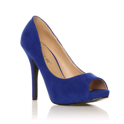 TIA Electric Blue Faux Suede Stiletto High Heel Platform Peep Toe Shoes