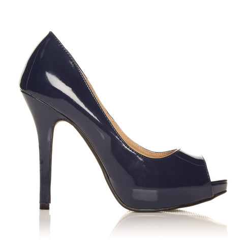 TIA Navy Patent PU Leather Stiletto High Heel Platform Peep Toe Shoes