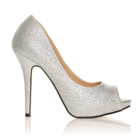TIA Silver Glitter Stiletto High Heel Platform Peep Toe Shoes