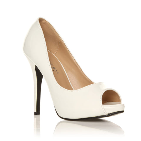 TIA White Patent PU Leather Stiletto High Heel Platform Peep Toe Shoes