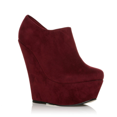 TINA Burgundy Faux Suede Wedge Very High Heel Platform Ankle Shoe Boots