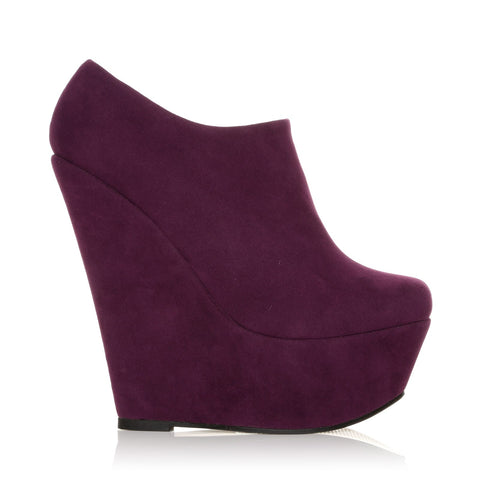 TINA Purple Faux Suede Wedge Very High Heel Platform Ankle Shoe Boots