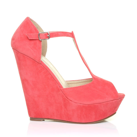 VICKY Coral Faux Suede T-Bar Peep Toe Platform Wedge Sandals