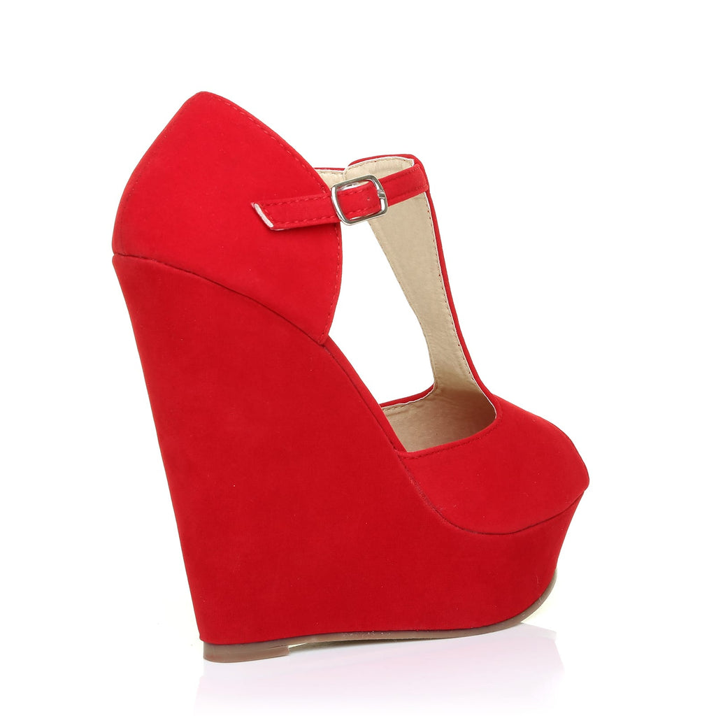 ca0736b96775 VICKY Red Faux Suede T-Bar Peep Toe Platform Wedge Sandals - ShuWish UK