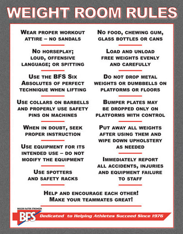 Weightroom Rules Poster