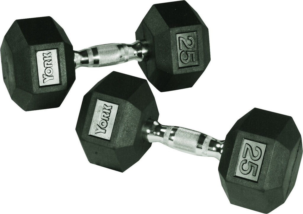 Rubber Hex Dumbbell - York