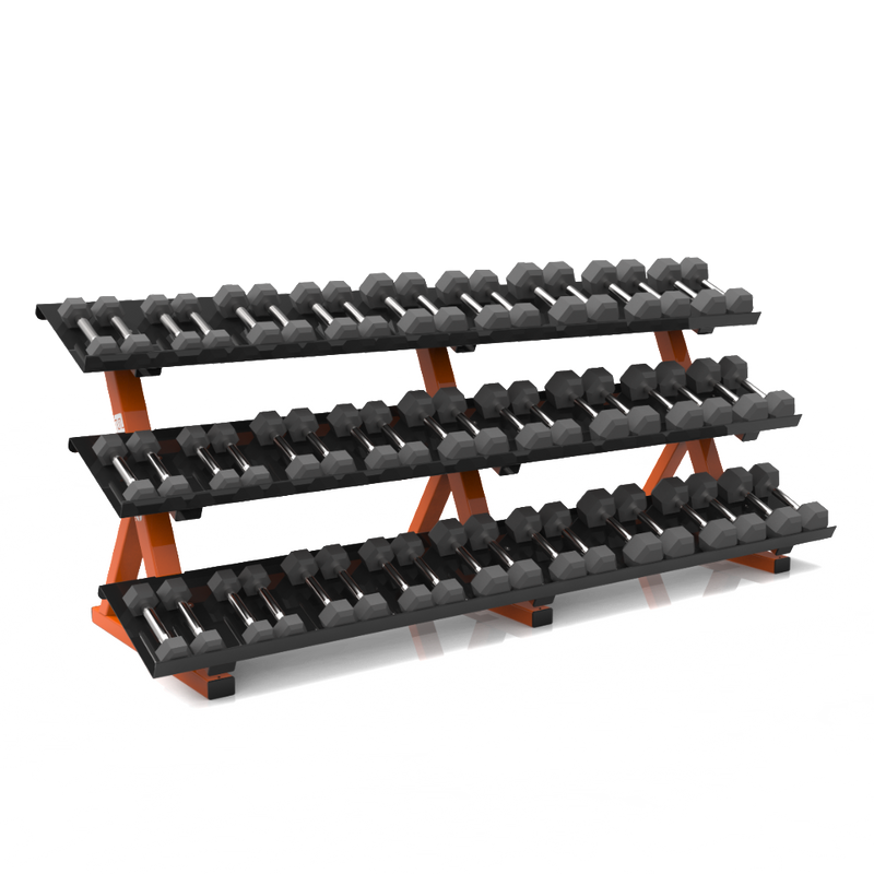 "BFS - D1 STORAGE - 3 TIER DUMBBELL RACK (8'4"") SHELF HEX DB (15 PAIR)"