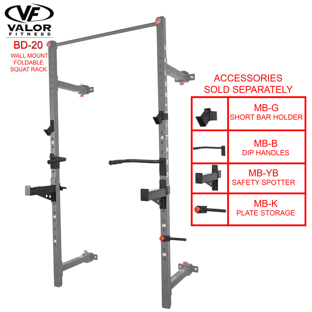 Wall mount foldable squat rack