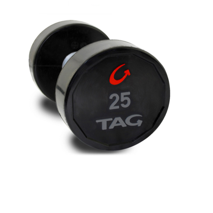 TAG  8 Sided Virgin Rubber Dumbbells-Straight Handles. Priced as pairs