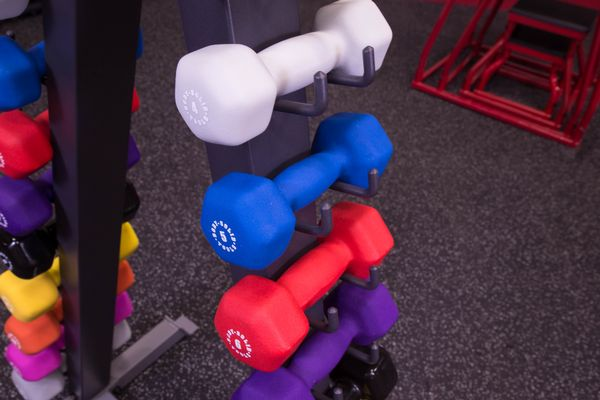 Body-Solid - 12 Pair Neoprene Rack with Rack, Includes GDR24 and pairs Neoprene Dumbbells 1-15lbs