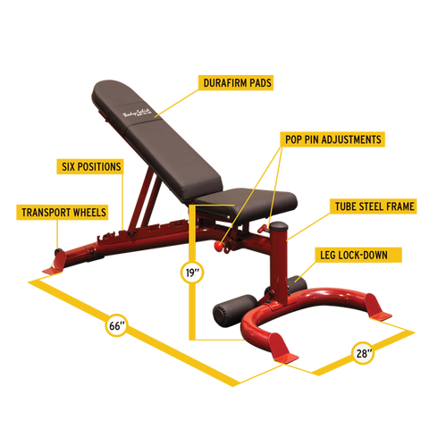 Body-Solid - FLAT/INCLINE/DECLINE BENCH, RED FRAME