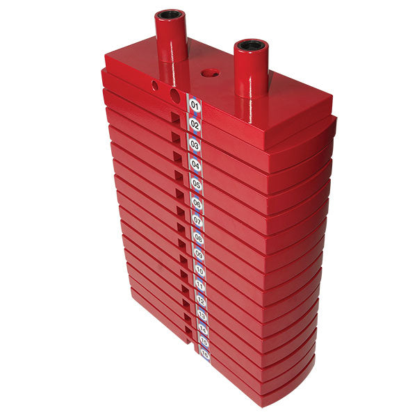 Body-Solid - PREMIUM RED STEEL WEIGHT STACK 50LBS, 5 X 10LB PLATES