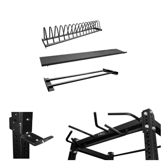 TAG Power Rack - Flat Tray Dumbbell/Slam Ball Kettlebell Tray Rack