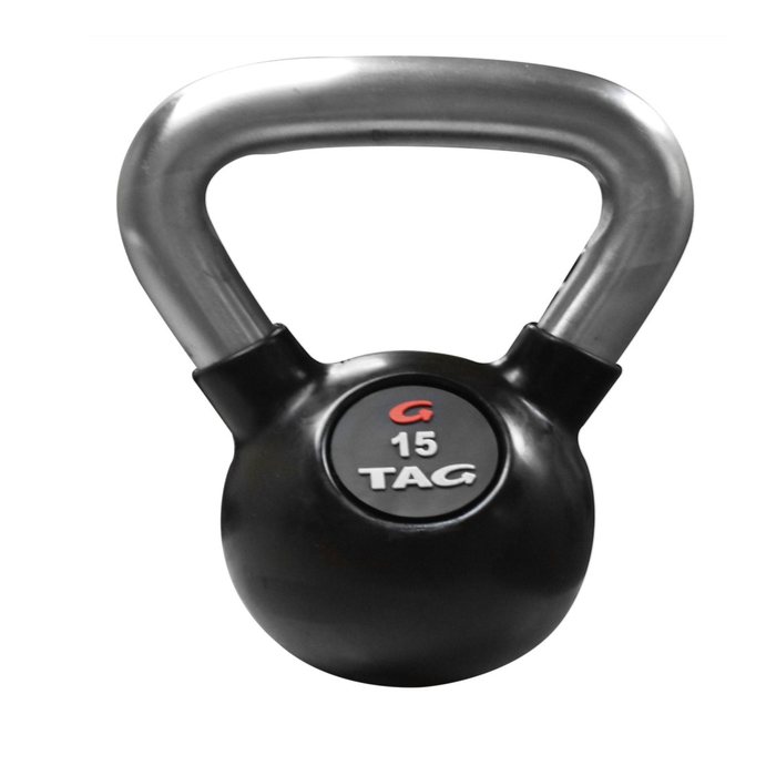 TAG Logo 5lb Rubber Encased Kettlebell with Chemical Chrome Handle