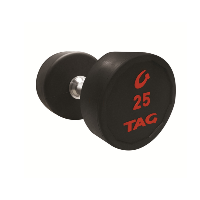 TAG DUMBBELLS W/STRAIGHT HANDLES - sold as set of 5-50 ONLY