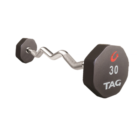 TAG EZ CURL FIXED BARBELL - 8 SIDED - PREMIUM ULTRATHANE ENCASED