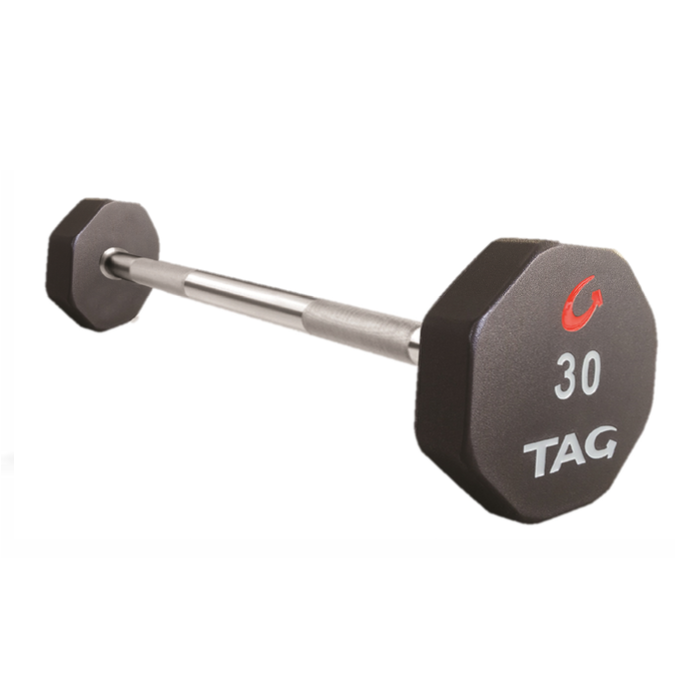 TAG STRAIGHT FIXED BARBELL - 8 SIDED - PREMIUM ULTRATHANE ENCASED