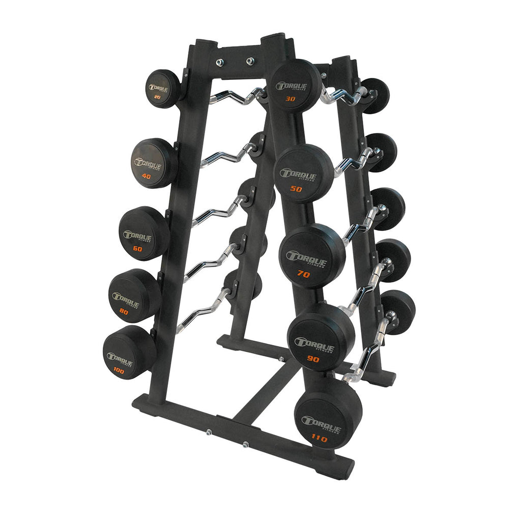 Torque X-SERIES ACCESSORY - Barbell Set, Rubber Pro-Style EZ Curl Fixed (20-110 in 10 pound increments)-TF