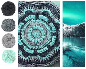Mountain Glacier Colorway Collage, in Nurturing Fibres' Eco-Fusion Yarn