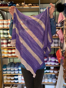 Serendipity Shawl Kit in Purple and Beige