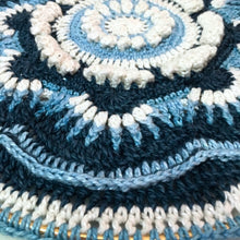 Load image into Gallery viewer, Closeup picture of the Ravenna Cushion in Midnight Sky, Eco-Fusion Yarn by Nurturing Fibres