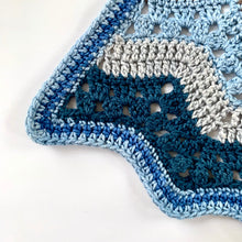 Load image into Gallery viewer, Betty McKnit's 6 Day Baby Blanket re-imagined in Nurturing Fibres Boy Version