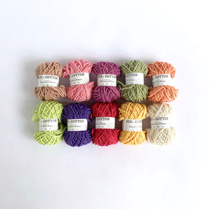 Eco-Bonbons by Nurturing Fibres in Eco-Cotton, assorted colors, packs of 10