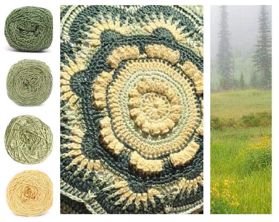 Meadows Colorway Collage, in Nurturing Fibres' Eco-Fusion Yarn