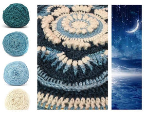 Midnight Sky Colorway Collage, in Nurturing Fibres' Eco-Fusion Yarn
