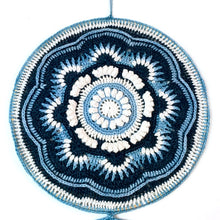 Load image into Gallery viewer, Closeup image of the Ravenna Mandala Wall Art in Eco-Fusion Yarn by Nurturing Fibres