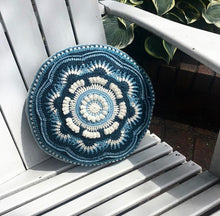 Load image into Gallery viewer, Full picture of the Ravenna Cushion in Midnight Sky, Eco-Fusion Yarn by Nurturing Fibres