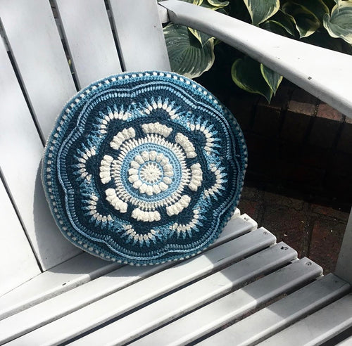 Full picture of the Ravenna Cushion in Midnight Sky, Eco-Fusion Yarn by Nurturing Fibres