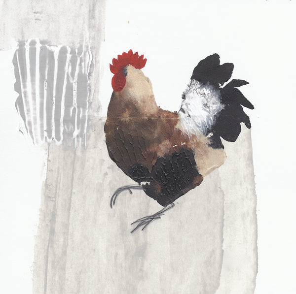 OUT OF STOCK Note Card Wallet: Three Hens & Cockerel
