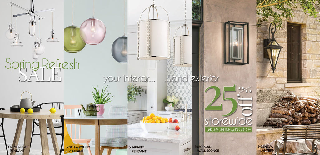 Shop Lighting Originals, Toronto, Canada's Lighting Store for the Best Lighting Buys! Fixtures, Chandeliers, Fans, Pendants, all at 25% off for Spring 2019!