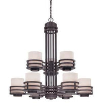 1-2952018839-8 Dolan Saturn Collection Nine Light Bolivian Finish Chandelier with Glacier Glass